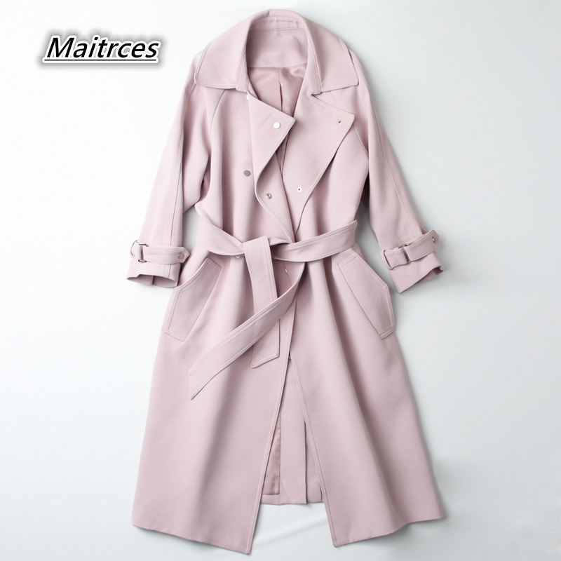 Spring Autumn Women's Trench Coat 2018 Streetwear Casual Windbreaker Coats Women Solid Long Slim Double Breasted Female FY004