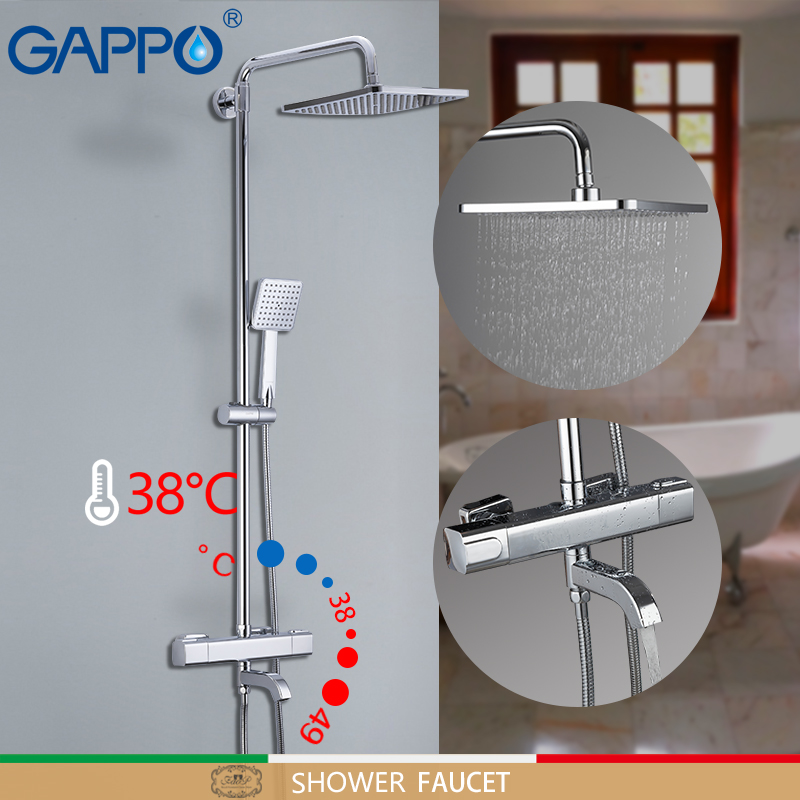 GAPPO ducha grifos bañera grifo termostático ducha en el cuarto de baño grifo baño mezclador montado en la pared conjunto de ducha de lluvia grifo mezclador