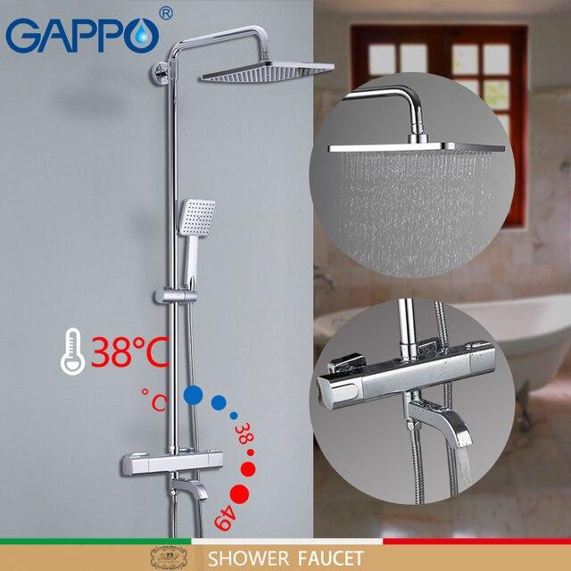 GAPPO grifos de ducha para bañera mezclador de baño de Grifo de ducha de baño termostático montado en la pared, conjunto de ducha de lluvia