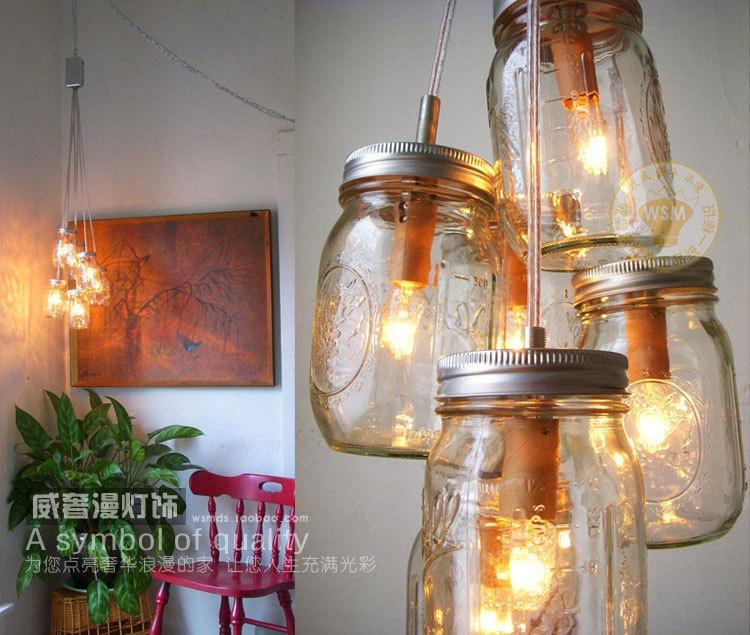 Vintage Modern Clear Glass Bottle Pendant Light Mason Jar