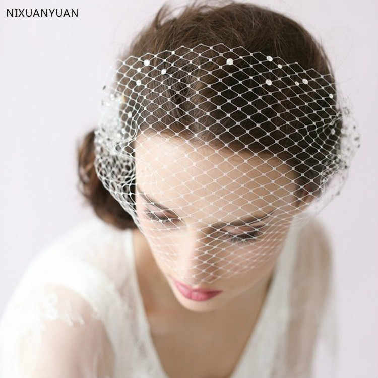 In Stock 2019 Wedding Bridal Hats Vintage Wedding Bridal Hair Accessories Flower Tulle Birdcage Veil Headpiece Head Veil