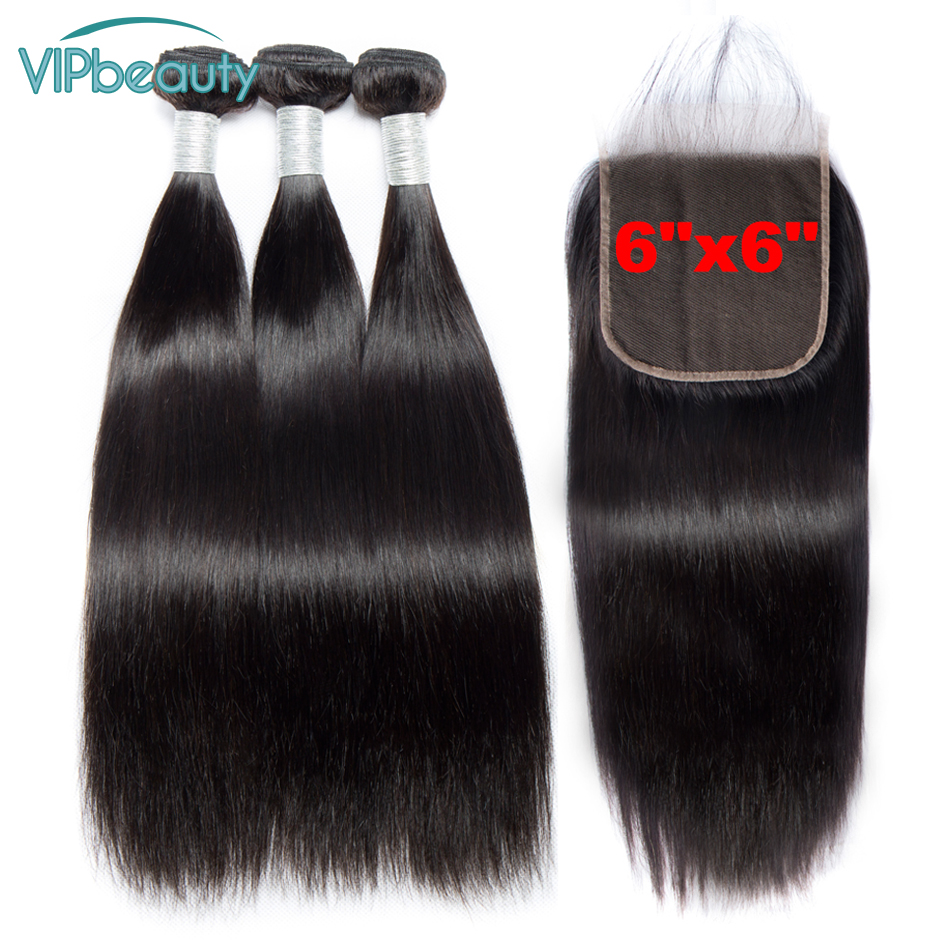 Vipbeauty Brazilian Human Hair Weave Bundles with Closure 6X6 Remy Straight Hair With Closure Free Part