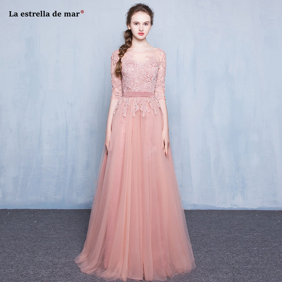 Vestidos de madrinha2018 new lace Half sleeve a Line Blush   bridesmaid     dress   long beautiful bohemian wedding party gown wholesale
