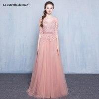 Vestidos de madrinha2018 new lace Half sleeve a Line Blush bridesmaid dress long beautiful bohemian wedding party gown wholesale
