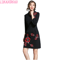 2017 New Women Autumn Dress Newest Fashion High Quality Embroidery Black Runway Dress Elegant Slim Party