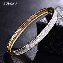 BUDONG Luxury Infinity Bangle for Women Silver Gold Color Bracelets Cubic Zirconia Crystal Wedding Jewelry XUZ019