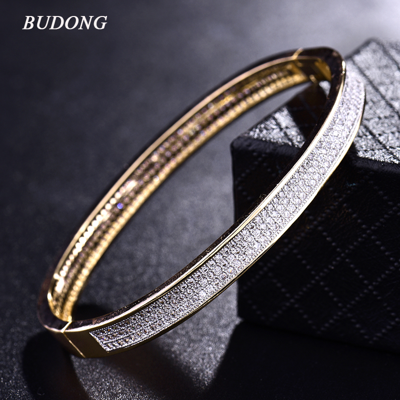 BUDONG font b Luxury b font Infinity Bangle for Women Silver Gold Color Bracelets Cubic Zirconia