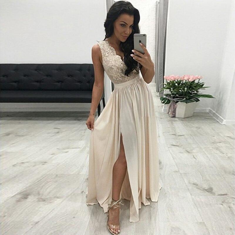 Longues robes de soirée 2019 longueur de plancher a-ligne v-cou plissée en mousseline de soie Robe de soirée de bal avec fente Applique Robe de soirée