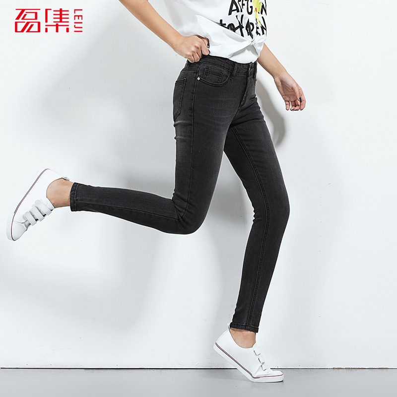 2017 LEIJIJEANS NEW Arrival jeans for women Skinny pencil pants mid waist plus size pant fashion trouser for women Dark grey 2017 leijijeans jeans women mid elastic dark blue plus size jeans with embroidery pants full length loose style straight fat mm