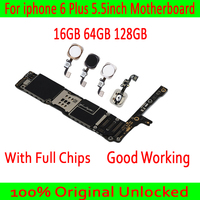 For iphone 6 Plus Motherboard Original unlocked Mainboard 16G 64G 128G for iphone 6 Plus Logic board with/without Touch ID Plate