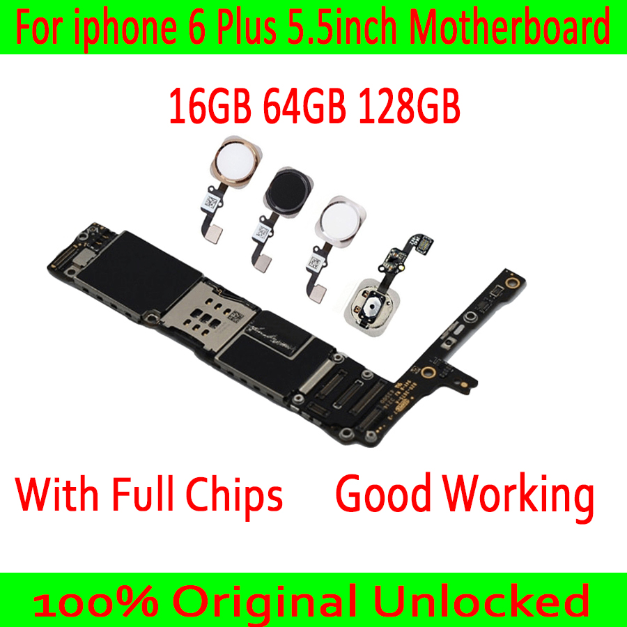 Para iphone 6 Plus Motherboard Original desbloqueado Mainboard 64 16G G 128G para o iphone 6 Plus placa Lógica com/ sem Placa de Toque ID