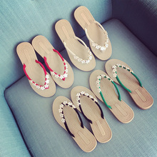New Sandals Women Fashion Explosions Bohemian Small Flowers Pinch Wild Flip-flops Flat-bottom Large Size Beach Slippers