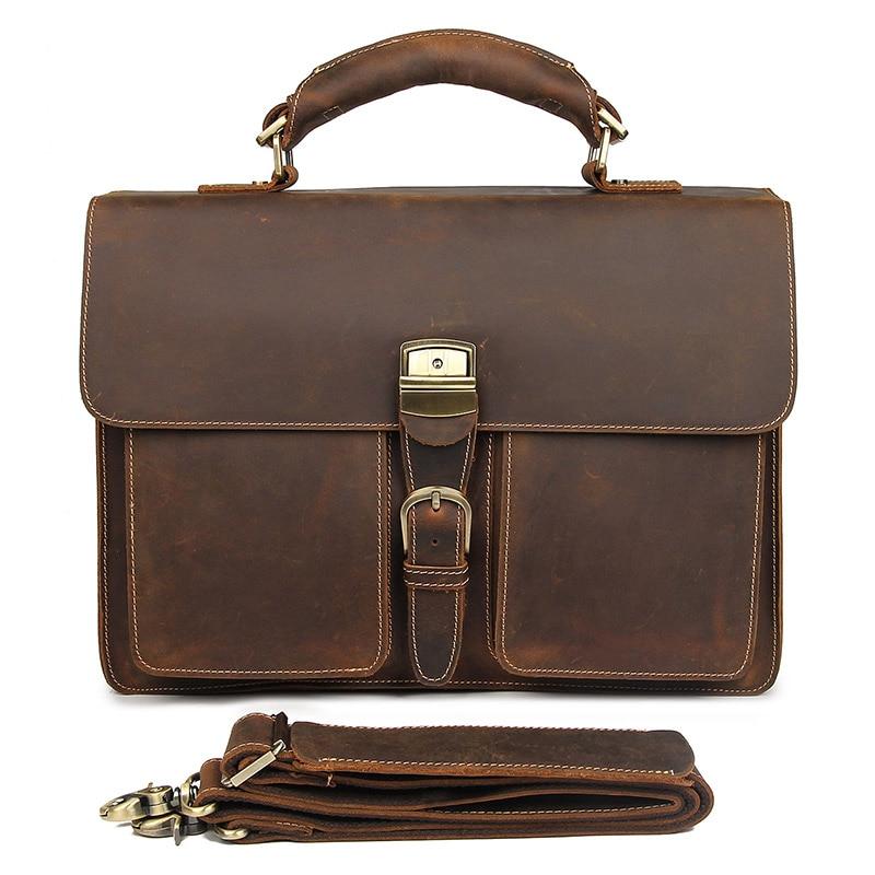 New Style Rare Crazy Horse Leather Handbag Briefcases Laptop Bag For Men 7164R
