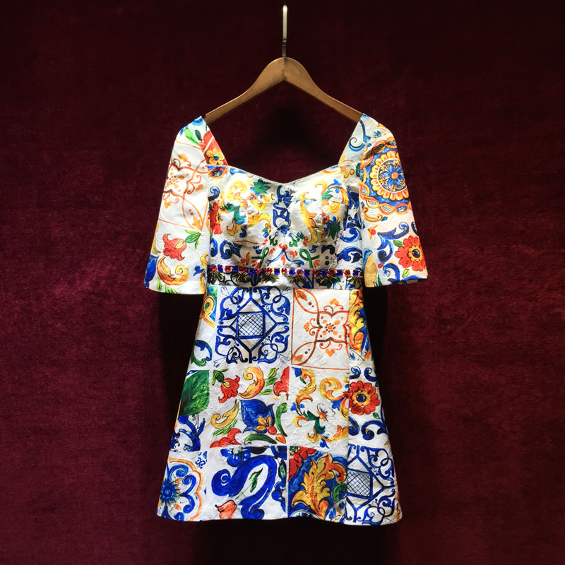 High quality 2019 Fashion Runway Summer Dress Women Short Sleeve Backless Gorgeous Floral Print Crystal Beading