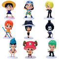 One Piece Action Figures Luffy Tony Chopper Sanji Usopp Brook Anime Toys Dolls Model Collection Brinquedos 9 Pieces/Set PVC #EB