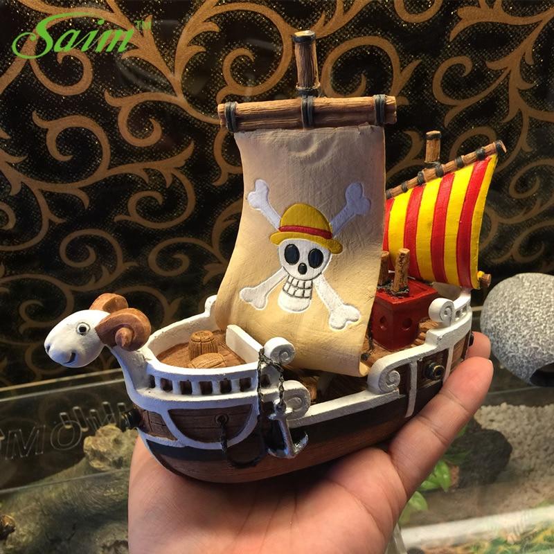 Saim One Piece Pirate Ship Aquarium Fish Tank Landscaping Decor Aquarium Pirate Ship Climb Pet Box Tank Boat Ornamental SZ007