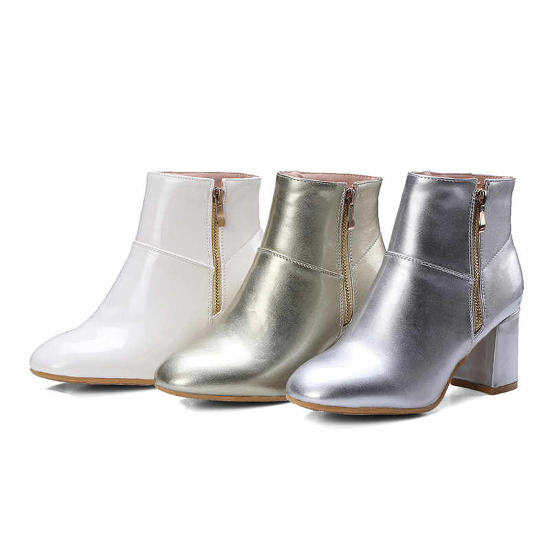 Morazora 2018 Baru Kedatangan Pergelangan Kaki Sepatu Wanita Warna Solid Musim Gugur Musim Dingin Boots Sederhana Zipper Sepatu Hak Tinggi Sepatu Wanita Boots