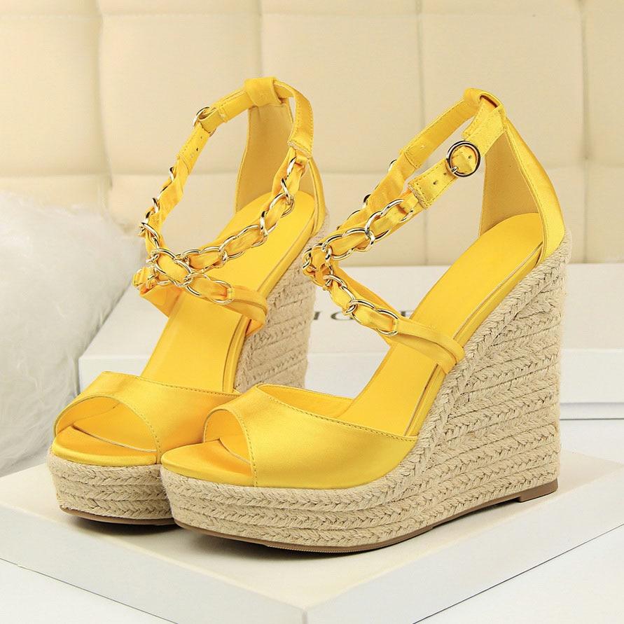 Summer Shoes Sandals Pumps Wedges Heels Platform-Silk 13cm Fetish Gold Yellow Silver