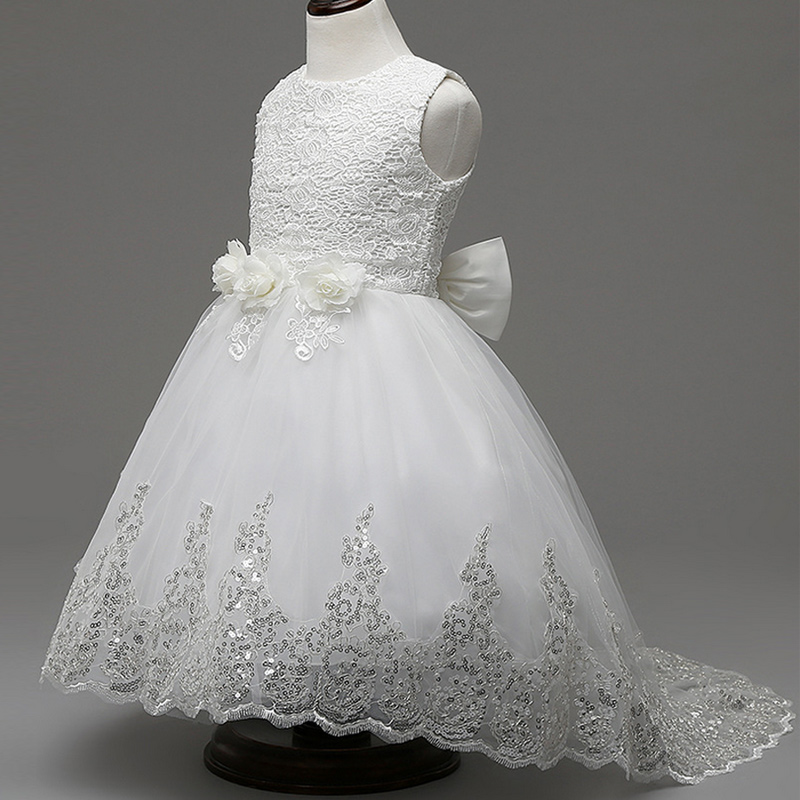2017 nouveau blanc rouge dentelle Tulle fleur fille robe princesse perle robe de bal fête de mariage filles robes pour 2-9Y longues robes de soirée