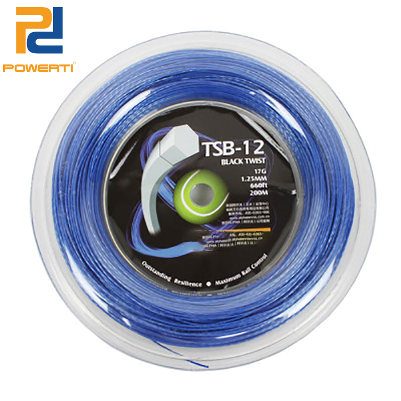 Powerti Black Twister Tennis String 200m Reel Durable 17G/1.25mm Polyester Racquet Hexagonal String training String TSB-12 powerti 4g rough bigtennis racket string 1 25mm 200m reel polyester racquet string round power flexibility tennis string