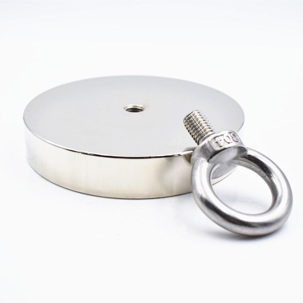 Fort aimant néodyme D107mm 550kg support de récupération de pêche puissant trou anneau circulaire crochet permanent en haute mer tirant le support - 3