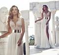 Sexy Глубокий V-образным Вырезом Вышивка Бисером Золото Металл Пояса Шифон Свадебные Платья 2016 Слоновой Кости Невесты Платья