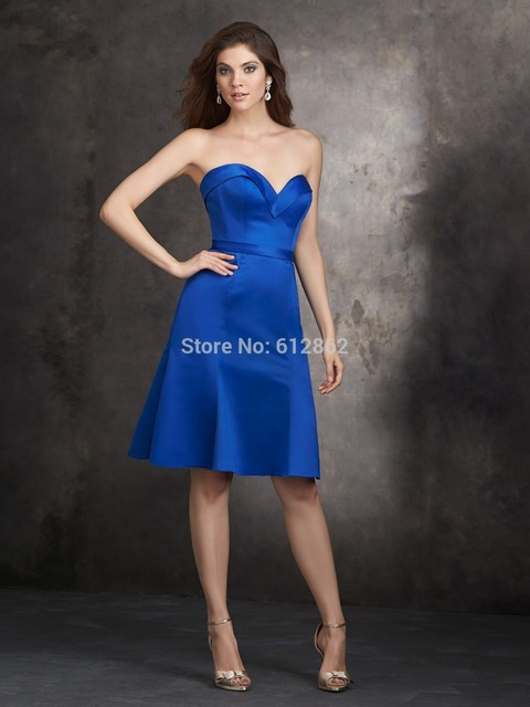0f21a7ca19eb4 US $79.0 |Strapless Satin Short Cheap Royal Blue Cocktail Dress,Women  Cocktail Dresses 2017 Free Shipping-in Cocktail Dresses from Weddings &  Events ...