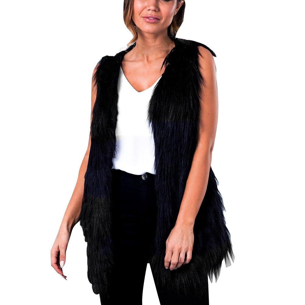 2017 Women Winter Vest Sleeveless Outerwear Coat Casual Waistcoat Jacket Faux Fur Vests Luxury Peel Women