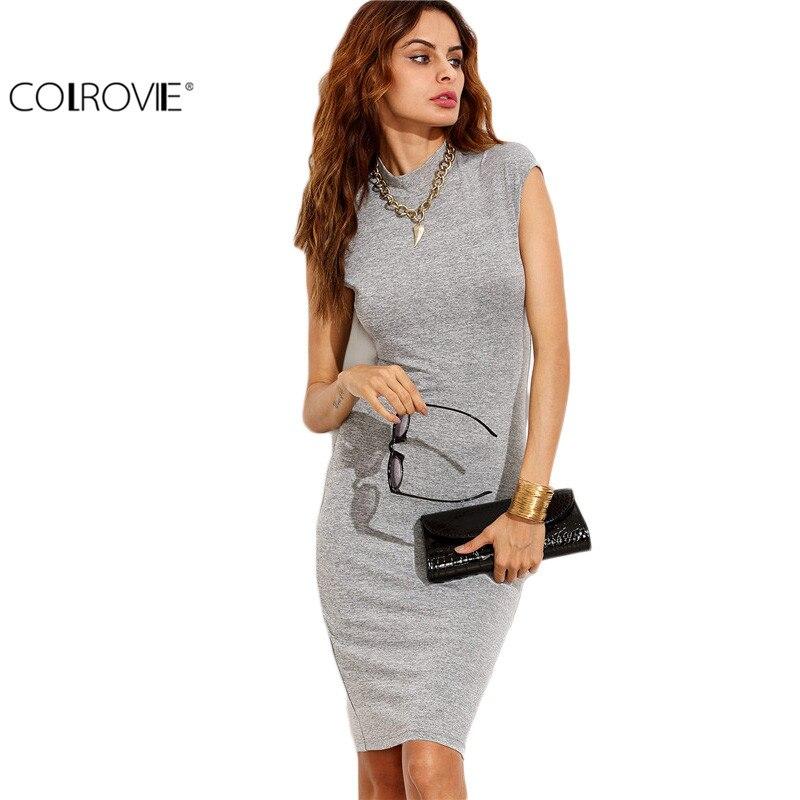 COLROVIE 2017 Grey High Neck Cap Sleeve Sheath Knee Length Dress Office Ladies Work Wear Slim Pencil Dress