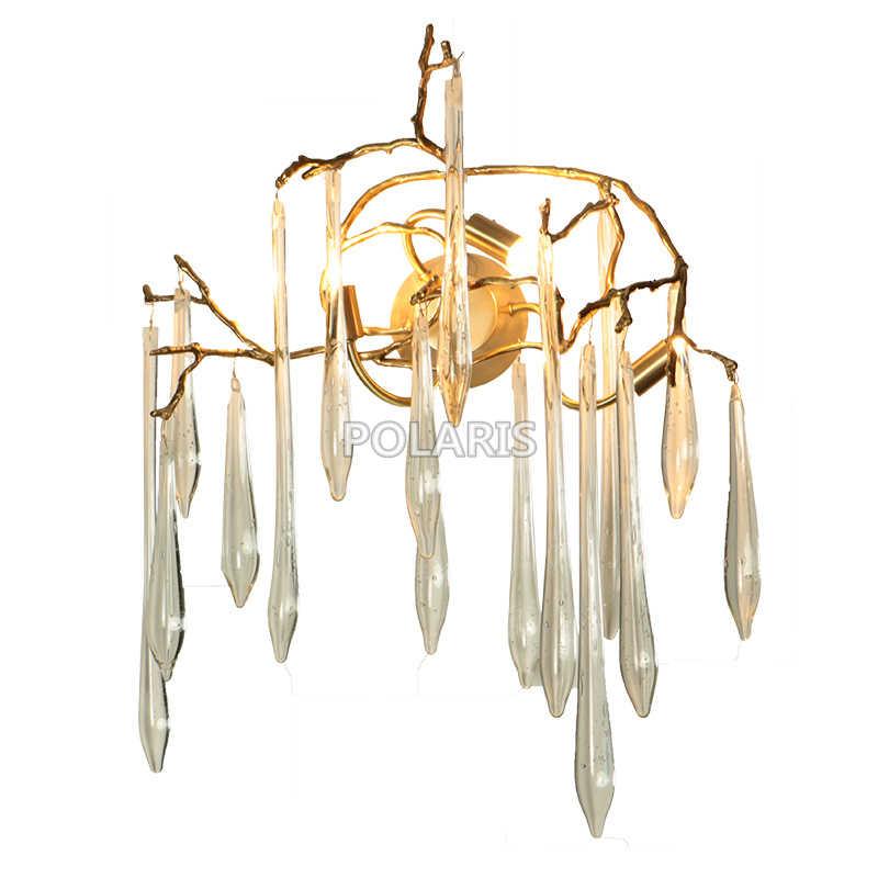 Современная хрустальная люстра-капля из стекла, светодиодный настенный светильник, медный настенный светильник для дома, для гостиничного номера, Декор