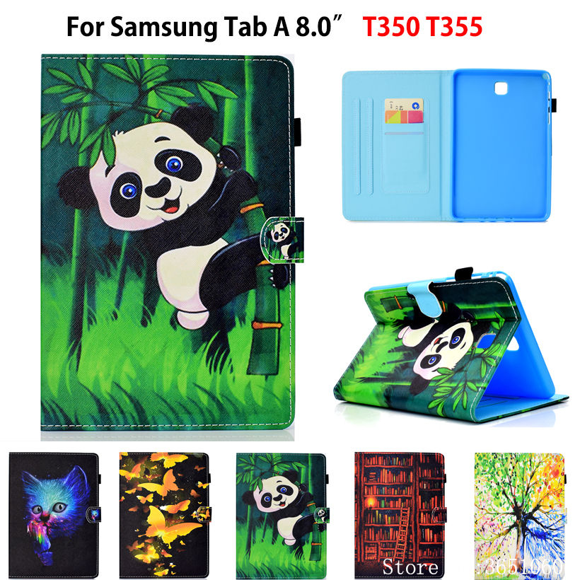 Case For Samsung Galaxy Tab A 8.0 Inch T350 T355 P350 P355 SM-T350 Cover Smart Case Panda Butterfly Funda Tablet Stand Shell