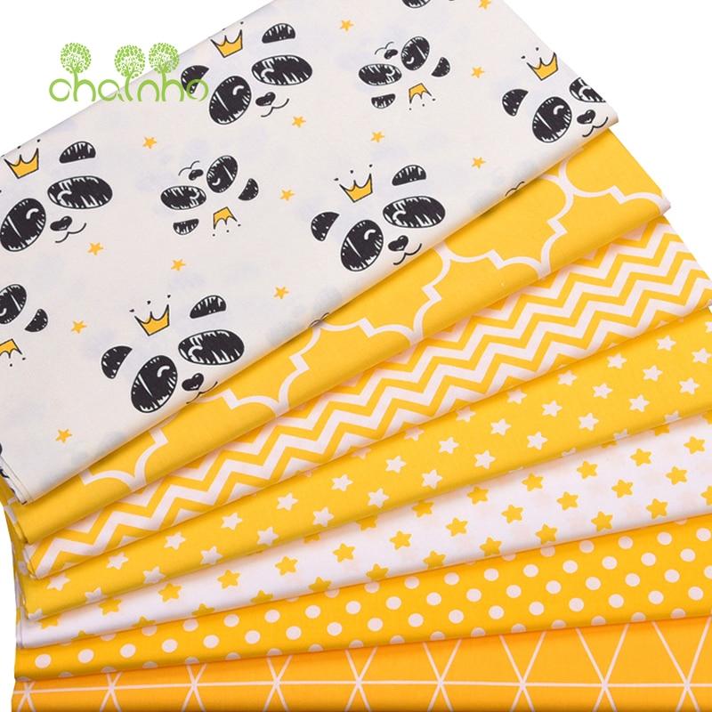 Chainho, 7 шт. серия желтая панда, печатная твиловая, хлопковая ткань, Лоскутная Ткань, DIY шитье и материал для стеганых изделий для малышей и детей, 40x50 см