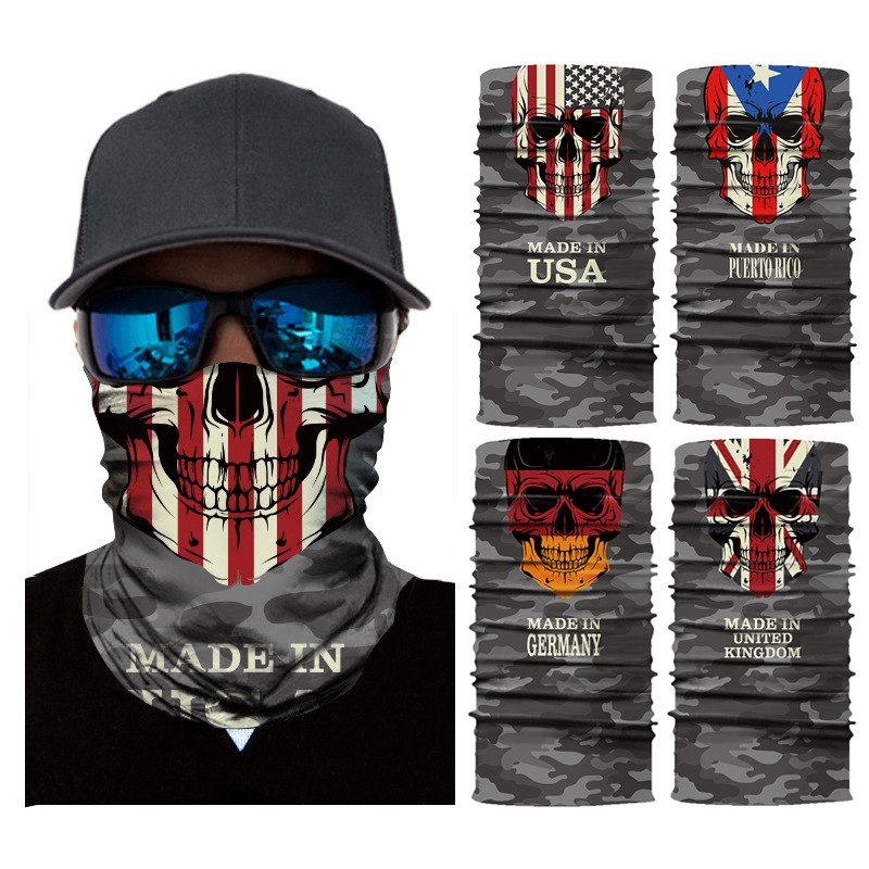 Seamless Bandanas Face Mask Headband Scarf Headwrap Neckwarmer Multifunctional black cloth face mask for Music Festivals Riding in Motorcycle Face Mask from Automobiles Motorcycles