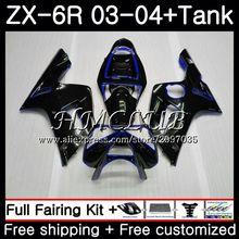 Майка для KAWASAKI NINJA ZX600 ZX636 ZX-6R 2003 2004 56HC. 5 ZX 636 6 R 600CC глянцевый черный ZX-636 ZX6R 03 04 ZX 6R 03 04 обтекатель