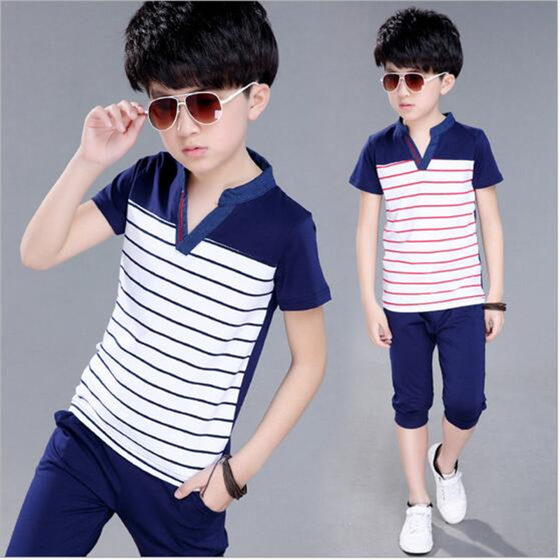 Fashion Summer Boys Childrens Clothing Set Striped V-neck Short Sleeve T-Shirt+Shorts 2 Piece Suits Kid Casual Sports Sets Boys