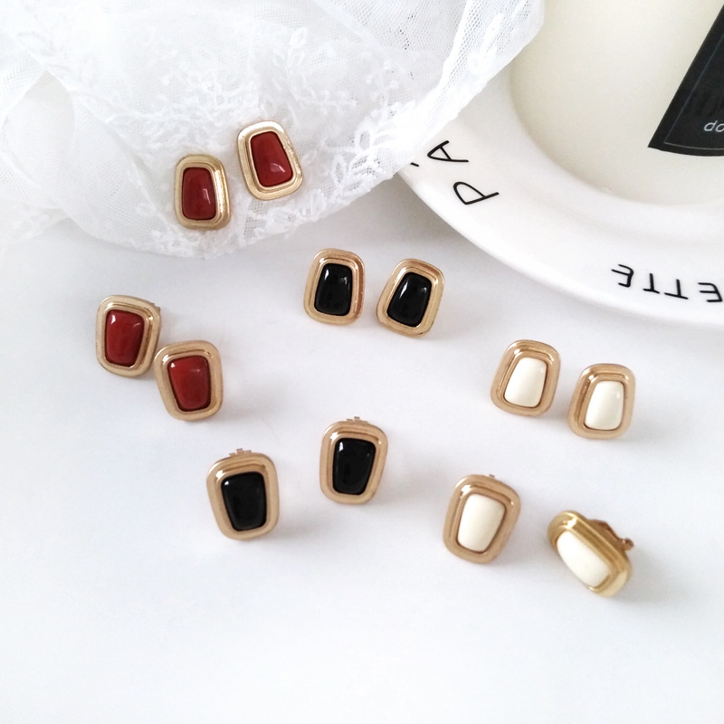 4ff7bad1a Detail Feedback Questions about Japan and South Korea temperament wild  niche geometry small earrings retro style simple square resin ear clips  women's ...