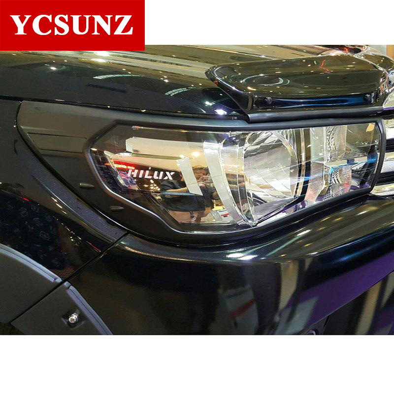2016-2017 Black For Toyota Hilux Revo 2016 Accessories Head Lights Cover For Toyota Hilux Revo 2015+ Basic Version Car Ycsunz 2016 toyota hilux revo window accessories abs chrome window gate trim for toyota hilux revo 2015 2016 chrome decoretive trim