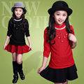 New Arrival Lace Girls T-Shirts With Velvet, Long Sleeve Children Clothing For Girls Tops Bottoming Shirt,Height 120-160cm