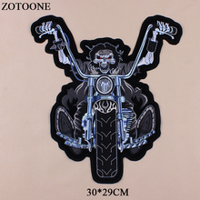 ZOTOONE Iron On Big Motorcycle Patches For Clothes Jacket Applique Embroidered Punk Rock Patch Stickers DIY Garment Accessory E