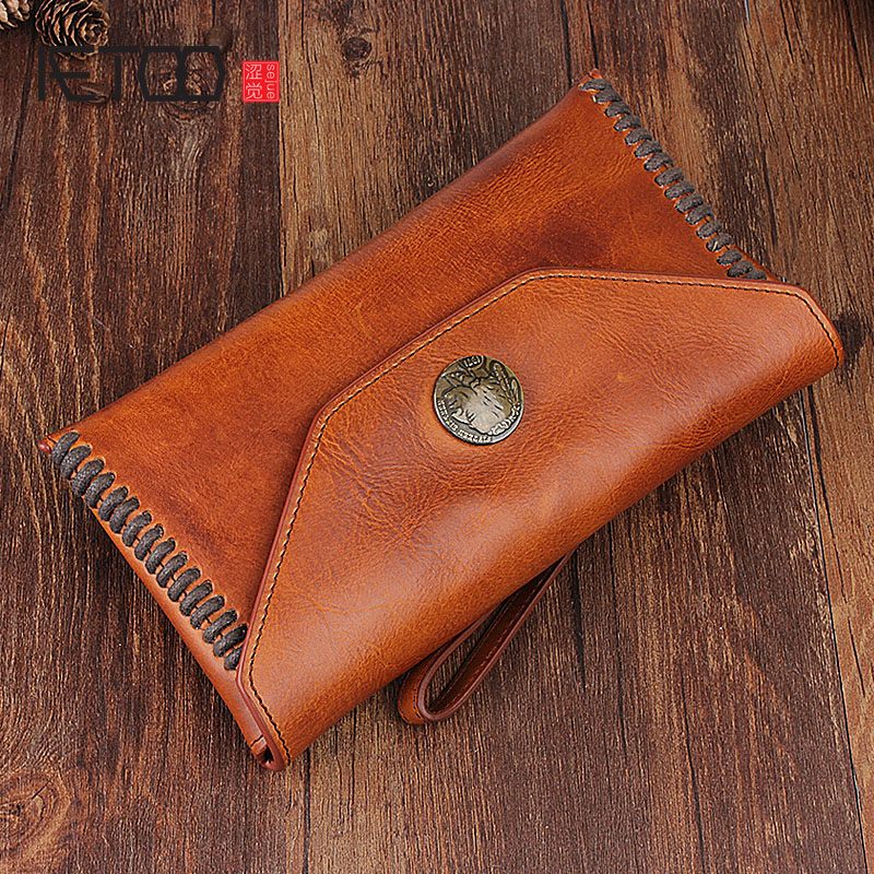 AETOO Original retro leather wallet long wallet leather handbag clasp multi-function handbag youth handbag pu leather metal multi zips handbag