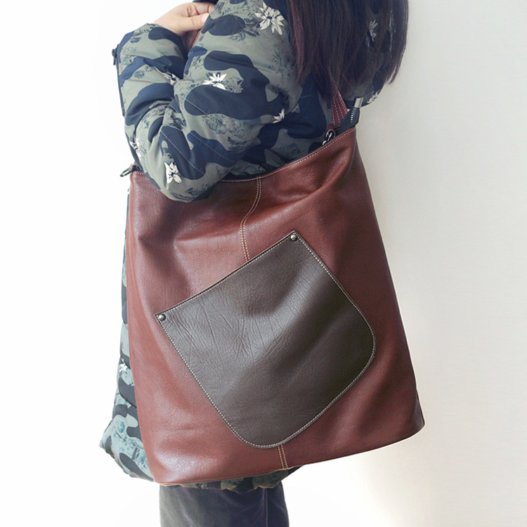 Vintage genuine leather women casual shouler bag large capacity lady first layer of cowhide shopping bag big tote handbag made of first layer cowhide handbag for women vintage shopping casual female tote bag genuine leather ladies shoulder bags new