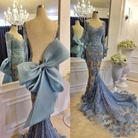 Real Photos Sexy Open Back 2018 Blue Mermaid Evening Gowns Sheer Long Sleeves Lace Applique Big Bow Pageant Prom Party Gowns