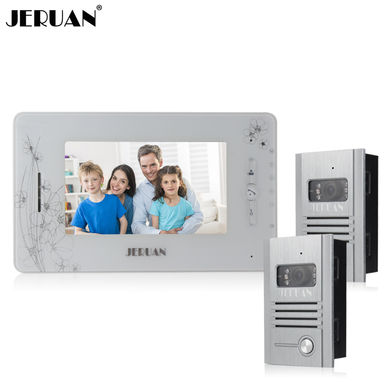 JERUAN 7 inch video door phone Recording intercom system 700TVL metal panel IR Camera + 8GB TF card free shipping jeruan 8 inch video door phone high definition mini camera metal panel with video recording and photo storage function