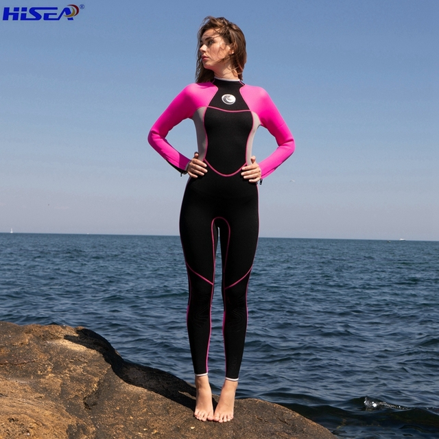 Hisea Women 3mm Quality Neoprene Professional One piece Wetsuits Thermal Scuba Diving Spearfishing Surfing Slim Full Bodysuit