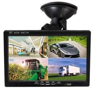 """Image 2 - Podofo 7 """"スプリットジタルスクリーンクワッドモニター 4CH ビデオ入力フロントガラススタイル駐車ダッシュボード車のリアビューカメラ用車スタイリング"""
