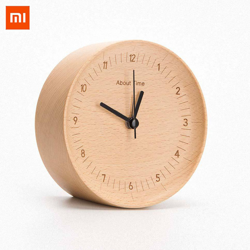 Original Xiaomi Mute Logs Wooden Alarm Clock Quality Fashionable Slight Table Clock with Metal Pointer Circle Frames clocks