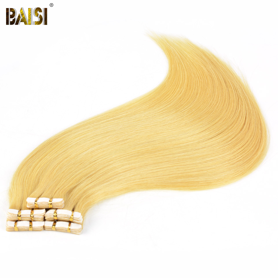 Schneidig Baisi Band Haar, 2,5g/strand, 20 Teile/satz, Seidige Europäischen Blonde Gerade Haar, Remy Band Haut Schuss, Farbe In #1 # 1b #4 #613 Attraktives Aussehen