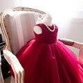 Bebé Vestido de la muchacha Del Verano de La Manera Partido Rojo Del Cordón Del Arco Grande Flores de tul Vestidos de Boda de La Princesa vestido Del Bebé de cumpleaños partido