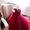 Girl Dress Baby Summer Fashion Red Lace Big Bow Party Tulle Flower Princess Wedding Dresses Baby Girl dress for birthday party