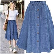 Women Spring Summer Midi Skirts 2019 New Fashion High Waist Pleated Skirt Womens Elastic Waist Elegant Ladies A Line Jean Skirts цена 2017